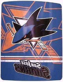 "Blanket Fleece Throw NHL San Jose Sharks NEW 50""x60"" wit"