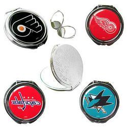 compact mirror glitter or logo travel purse NHL