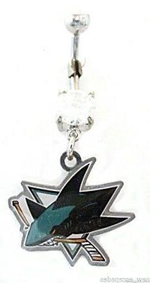 Belly Ring NHL Hockey San Jose Sharks Sports Dangle Naval St