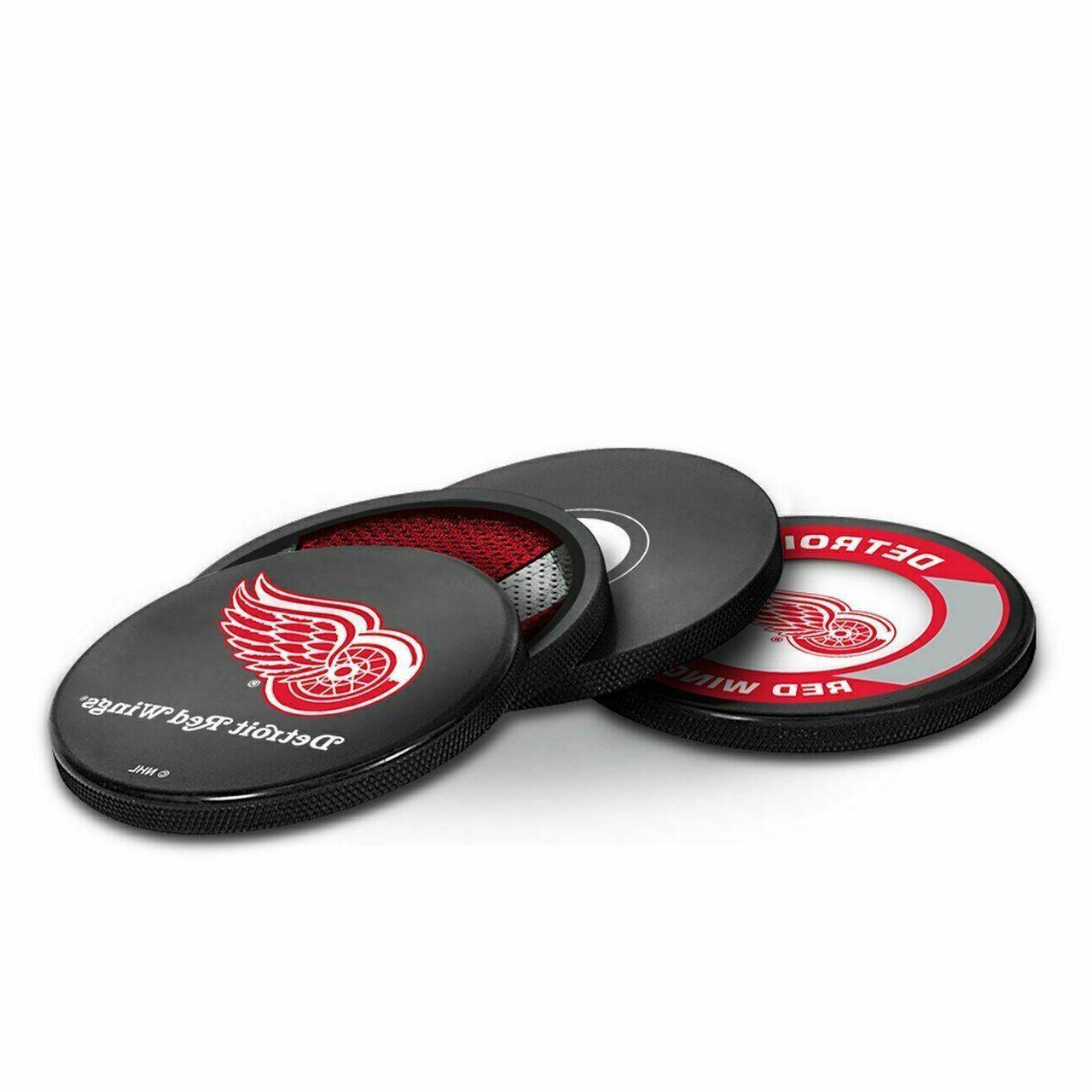 new nhl actual hockey puck coasters set