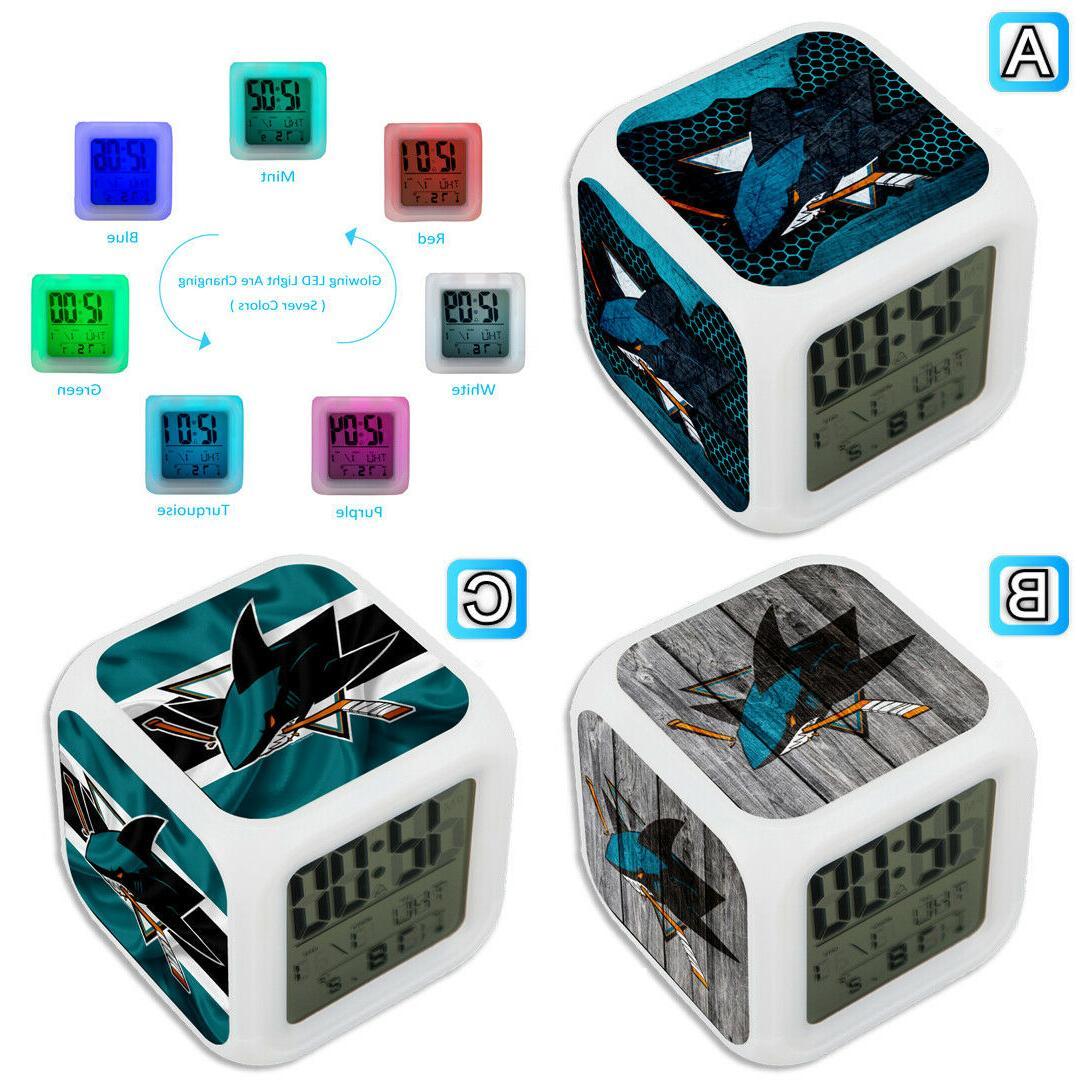 san jose sharks digital alarm clock color