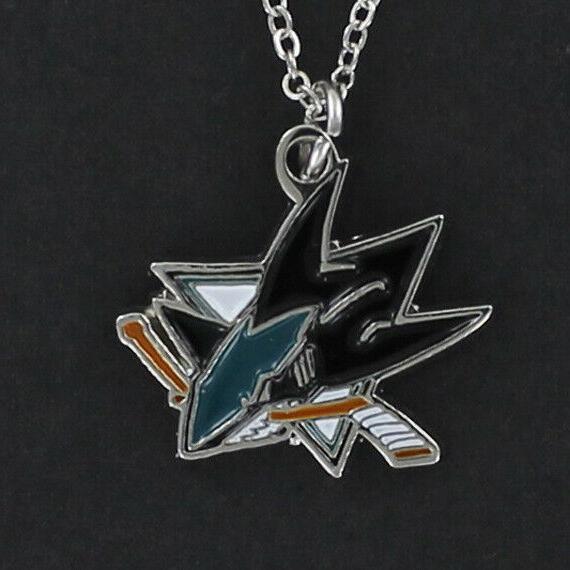 san jose sharks necklace enamel pewter charm