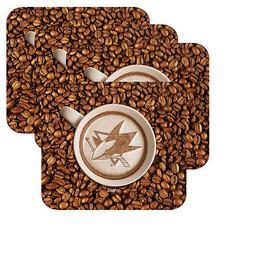 NEW SAN JOSE SHARKS LATTEAM COFFEE ART 4pk COASTER SET PACKA