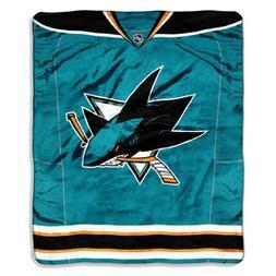 NHL San Jose Sharks Jersey Royal Plush Raschel Throw Blanket