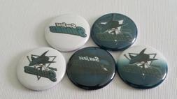 """NHL San Jose Sharks, 1"""" Buttons, Flat/Pin/Metal Flatback/Mag"""