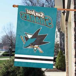"NHL San Jose Sharks 2 sided 44"" x 28"" Applique & Banner, Fla"