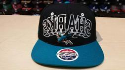 NHL San Jose Sharks 2 Tone Black Team Name and Logo Retro Sn