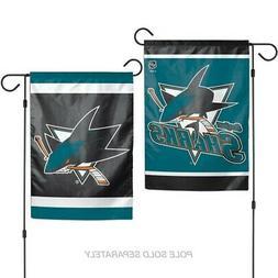 """SAN JOSE SHARKS 2 SIDED GARDEN FLAG 12""""X18"""" YARD BANNER NHL"""