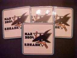 san jose sharks 4 x4 coaster set