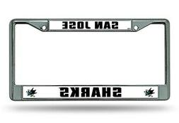 San Jose Sharks BOLD Chrome Frame Metal License Plate Tag Co