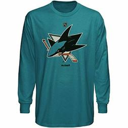San Jose Sharks Reebok Long Sleeve Primary Logo T-Shirt MENS