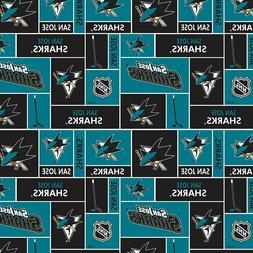 San Jose Sharks NHL Box Design Cotton Fabric-$8.99/yard