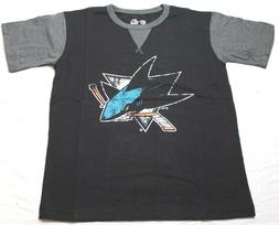 San Jose Sharks NHL Distress Logo Big & Tall T-Shirt Black S
