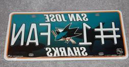 SAN JOSE SHARKS NHL HOCKEY SPORTS #1 FAN METAL LICENSE PLATE