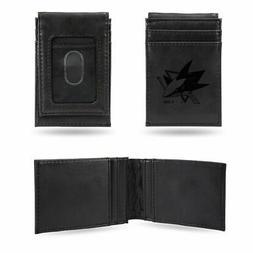 San Jose Sharks NHL Laser Engraved Black Front Pocket Wallet