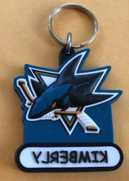 SAN JOSE SHARKS NHL RUBBER Key Ring Personalized Kimberly