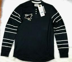 San Jose Sharks NHL CCM Striped LS Henley Shirt, Men, Black,