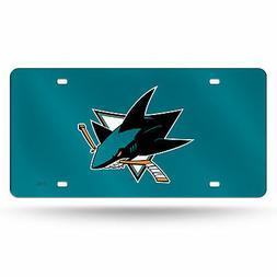 San Jose Sharks NHL Teal Mirrored Laser Cut License Plate La