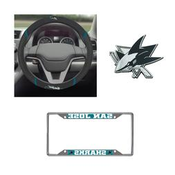San Jose Sharks Steering Wheel Cover, License Plate Frame, 3