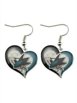 San Jose Sharks Swirl Heart Earring NHL Dangle Logo Charm Gi