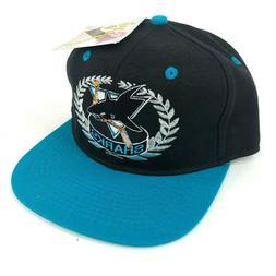 Vintage NWT San Jose Sharks #1 Apparel Fitted Hat Cap Black